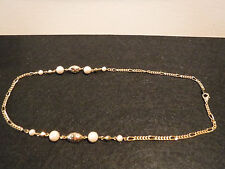Vintage Gold Tone Necklace Gold Tone Charms & Simulated Pearls Jewelry