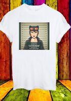 Catwoman Selina Kyle Gotham City Batman Mugshot Men Women Unisex T-shirt 821
