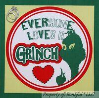 BonEful Fabric Cotton Quilt Red Green White Dr Seuss Grinch Face Xmas L Applique