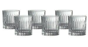 ROYAL DOULTON Linear Crystal Whiskey Scotch Tumbler Set of 6 Glasses 275ml