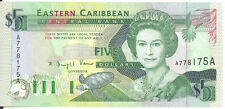East Caribbean States $5 Five Dollars Antigua P-26a UNC Queen Elizabeth II 1993