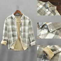 Mens Fleece Lined Check Shirt Thick Sherpa Plaid Jacket Long Sleeve Lapel Winter