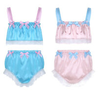 Men's Silky Lace Crop Top Underwear Sissy Bulge Pouch Panties Briefs Underpants