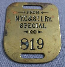 Railroad Baggage Luggage Tag Brass FROM N.Y.C.& STL. RY. SPECIAL New York City