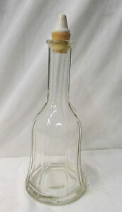 Antique Hand Blown Fluted Decanter w/Porcelain Cap & Cork