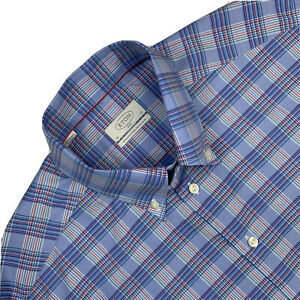 Mint !  17 ETON Slim Fit Light Blue / Green Plaid Button Down Cotton Shirt