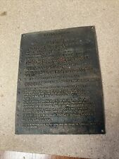 More details for fire engine bronze/copper plaque vintage