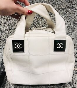 CHANEL CC White Quilted Leather Bowler Bag