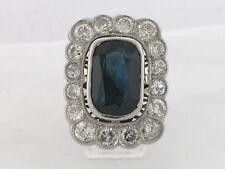Antiker Ring Platin natürlicher Saphir 6,61ct  16 Diamanten   Zertifikat