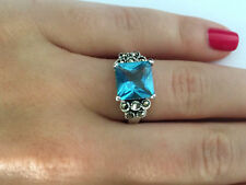 CLASSY LADIES BLUE STONE MARCASITE RING STERLING SILVER 925 SIZE 7 1/4
