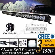 "31""inch 150W Slim Single Row Curved CREE LED Light Bar Car ATV SUV 4WD RZR 30"""