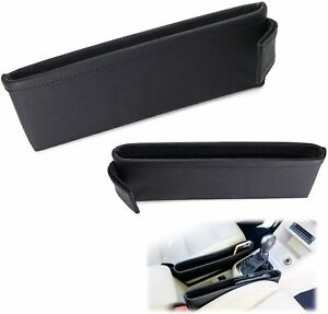 Black Leather Car Side Pocket Organizers, Seat Catchers For Phone Key Wallet etc