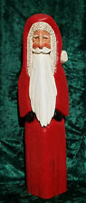 """Hand Carved Wood Santa Hand Painted 18"""" Tall"""