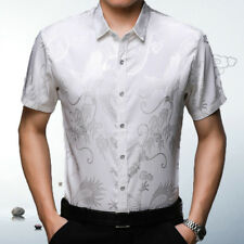 Men Silk Satin Dragon Dress Shirt Business Party Short Sleeve Casual Top Fashion