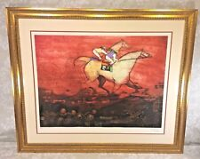 Vtg Jean-Pierre Martinez Horse Racing Color Etching Limited Edition  # 9 of 90