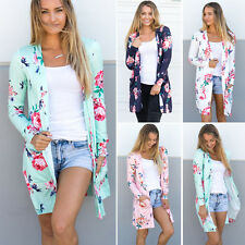 UK Oversize Cardigan Loose Sweater Floral Long Sleeve Womens Outwear Jacket Coat