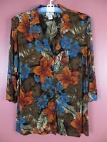 STK1788- The TRAVEL COLLECTION Woman Slinky Knit Jacket Multi-Color Floral SZ 1X