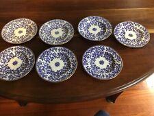 Antique Minton Seaweed Fibre Blue Plates 14cm x7
