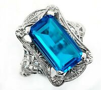 10CT Blue Topaz 925 Solid Sterling Silver Vintage Style Ring Jewelry Sz 9, PR39