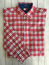 Men's Tommy Hilfiger LS Button Shirt Red White And Blue Check Cotton Medium