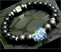 Men Swarovski blue SKULL beaded stone personalized Bracelet, ONYX, MEN gift