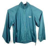 VTG 90s Reebok Mens M Windbreaker Zip Up Jacket Light Vented Tuck In Hooded 482