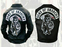 MENS SONS OF ANARCHY SOA GENUINE REAL LEATHER MOTORCYCLE JACKET & VEST NEW