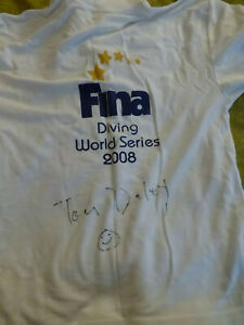 TOM DALEY FINA DIVING WORLD SERIES 2008 SIGNED COTTON T-SHIRT SZ M NEW