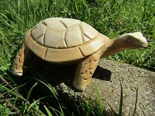 More details for fair trade hand carved made wooden garden tortoise reptile statue ornament
