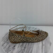 Lucky Brand Aviee Womens Size 5.5 Leopard Print Elastic Straps Ballet Flats