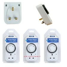 3 x 24HR MAINS PLUG IN TIMER SWITCH TIME CLOCK SOCKET UK 3 PIN LIGHTS NEW