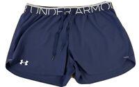 Under Armour Heat Gear Women's Loose Black Blue  Running Shorts Size Medium