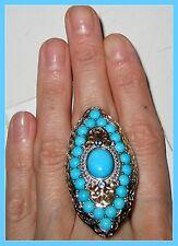 HUGE!! Sleeping Beauty Turguoise Swiss Blue Topaz  Ring Sterling Silver 925 sz 8