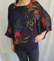 Womens Ladies New Chiffon Floral Top two-tier Batwing 3/4 sleeves Size 8 10 only