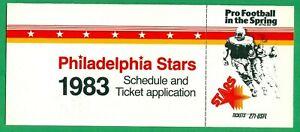 1983 PHILADELPHIA STARS USFL SCHEDULE & TICKET APPLICATION  RARE  MILLER BEER