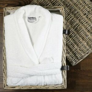 100% Turkish High Quality Cotton Terry Towelling White Bath Robe Dressing Gown