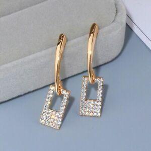 Fashion Stud Drop Earrings Women 14k Rose Gold White Sapphire Wedding Jewelry