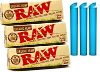 RAW Organic 1 1/4 Rolling Paper - 3 PACKS - 1.25 Natural Cigarette Papers + tube