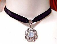 SILVER-TONE FILIGREE OPALITE STONE PENDANT VELVET CHOKER black goth necklace 2F