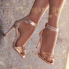 Ladies Diamante High Heel Sandal Shoes Ankle strap Barely there Party Size 20370