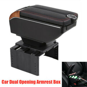 7-USB Charging Universal Car Dual Opening Armrest Box Central Console Cup Holder