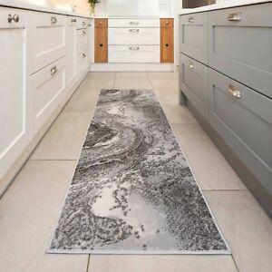 Modern Grey Marble Runner Luxury Aesthetic Indoor Long Hallway Living Rug Mats