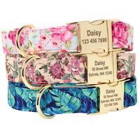 Personalisierte Hundehalsband Mit Gravur Namen für Hunde/Katzen Blumenmuster S-L