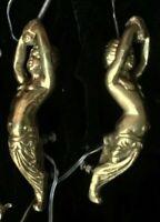 Heavy Brass Chandelier Lamp Parts 2 Statues Cherubs Vintage 2 lbs each