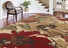 "8x10 (7'6"" x 9'10"") Contemporary Transitional Abstract Floral Red Area Rug"