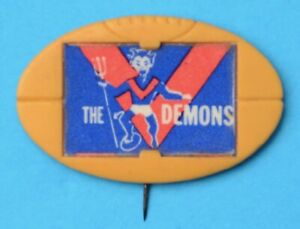 VFL Club Mascot Football Badge Melbourne DEMONS 1968 MILO FOOTY Pin