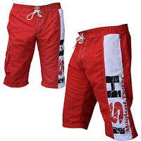 Men's Board shorts Surf Board Shorts Red Swim Beach Trunks Surfing Casual Short
