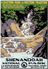 """Vintage Travel Poster *FRAMED* CANVAS PRINT USA National Park waterfall 16""""x12"""""""