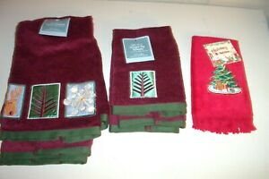 5 LOT XMAS HAND TOWELS 15x25 & FINGER TIP 11x17 Burgundy / Green & Red NEW