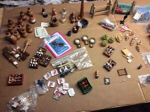LOT #2 100 pcsDollhouse Miniature Accessories pot metal cloth assorted fixtures